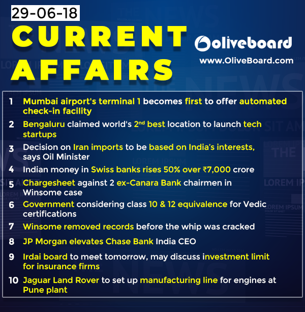 DAILY GK CURRENT AFFAIRS – 29th JUNE