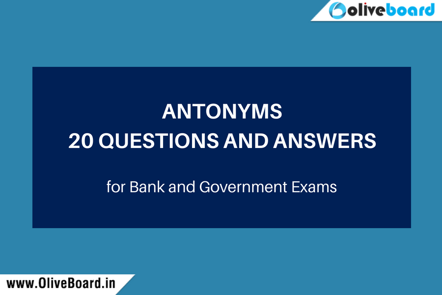 20 Antonyms Questions