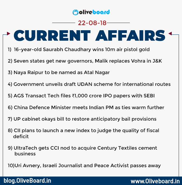CURRENT AFFAIRS: 22nd August 2018