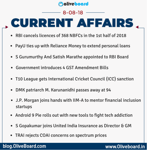 DAILY GK CURRENT AFFAIRS – 8th August