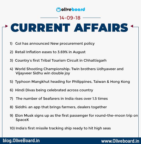 Current Affairs: 14 September 2018