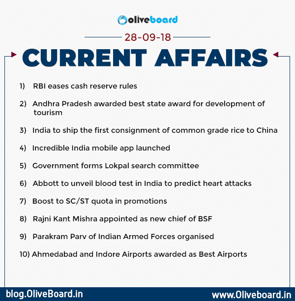 Current Affairs: 28 September 2018