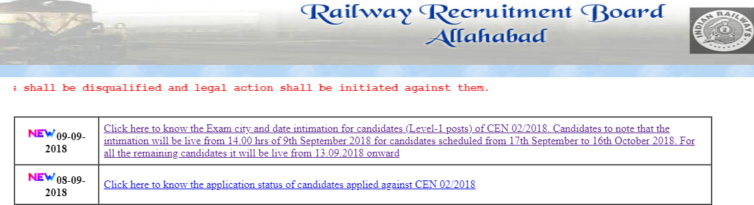 Railway RRB group D Exam Date link