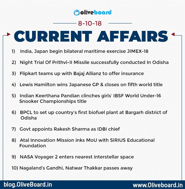 Current Affairs: 08 October 2018
