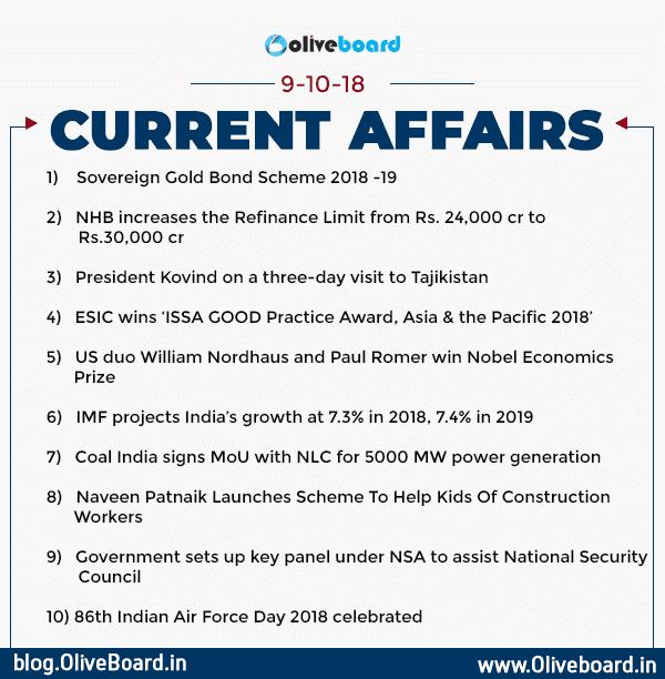 Current Affairs: 09 October 2018