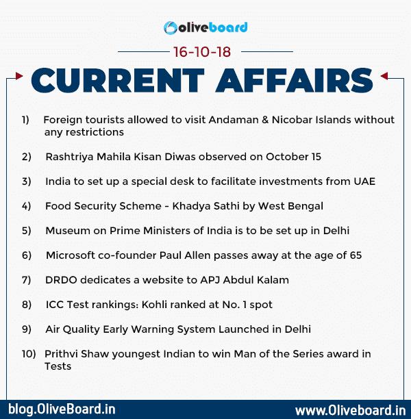 Current Affairs: 16 October 2018