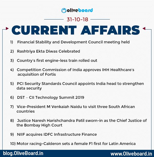 Current Affairs: 31 October 2018