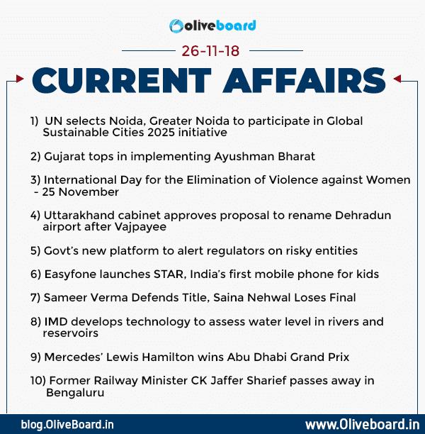 Current Affairs: 26 November 2018