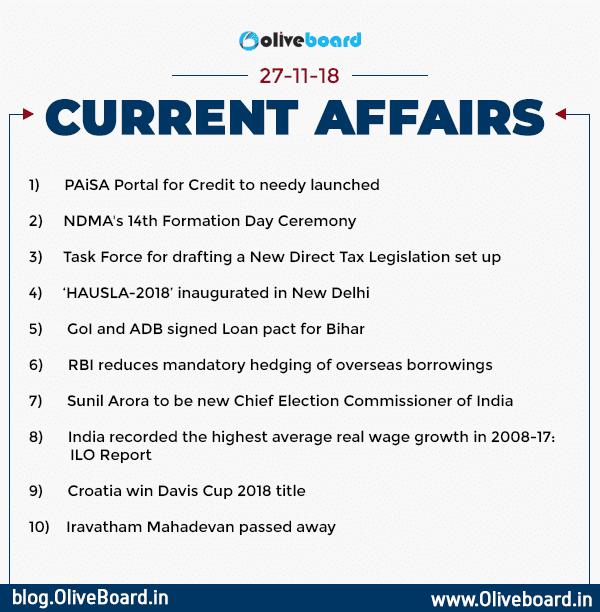 Current Affairs: 27 November 2018