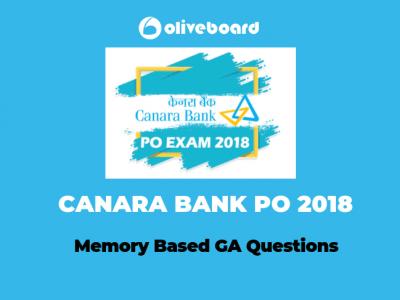 Memory Based GA Questions-CANARA Bank PO 2018