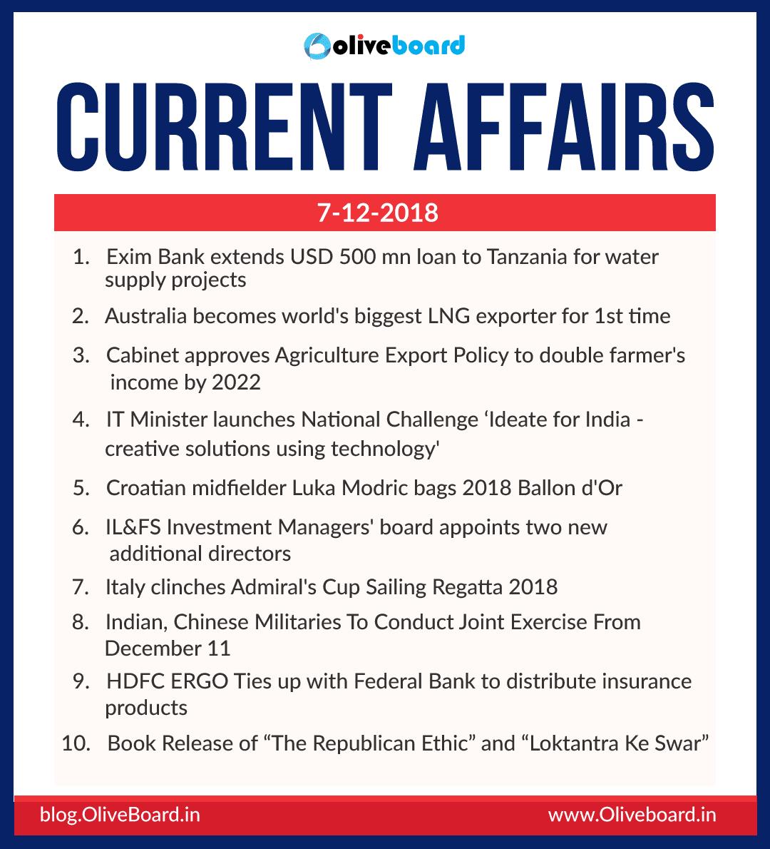 Current Affairs: 07 December 2018