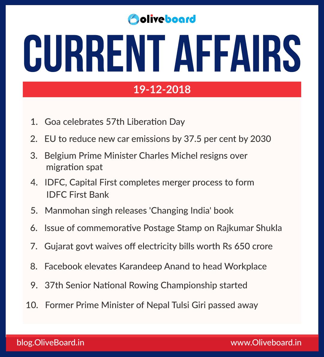 Current Affairs: 19 December 2018