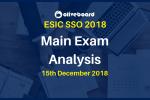 ESIC SSO 2018 Main Exam Analysis