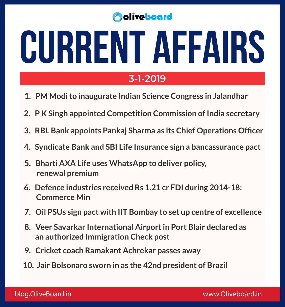 Current Affairs: 03 January 2019