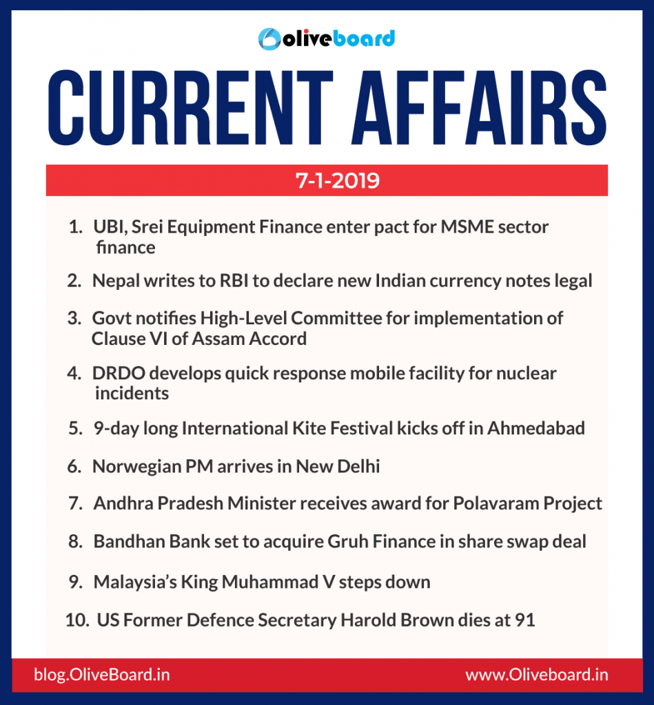 Current Affairs: 07 January 2019