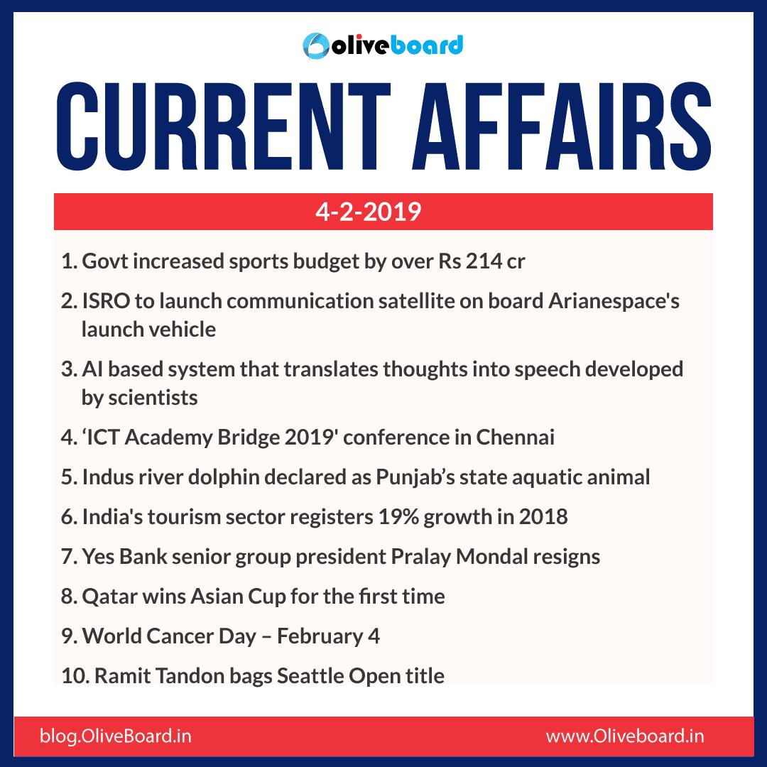 Current Affairs: 04 February 2019