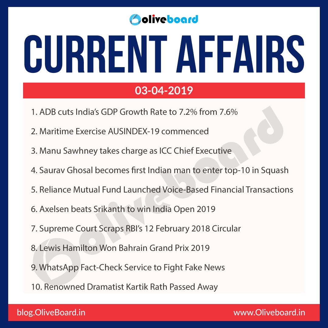 Current Affairs: 03 April 2019