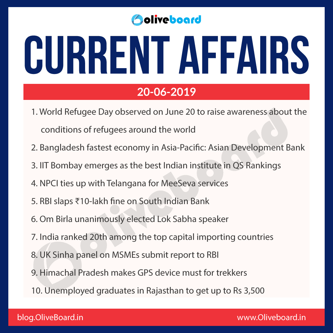 Current Affairs 20 June 2019
