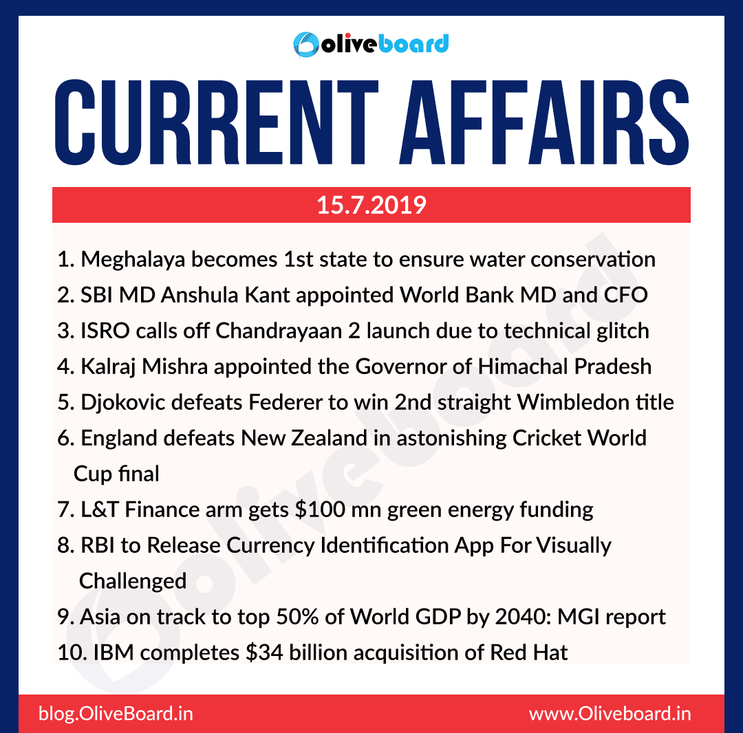 Current Affairs 15 July 2019
