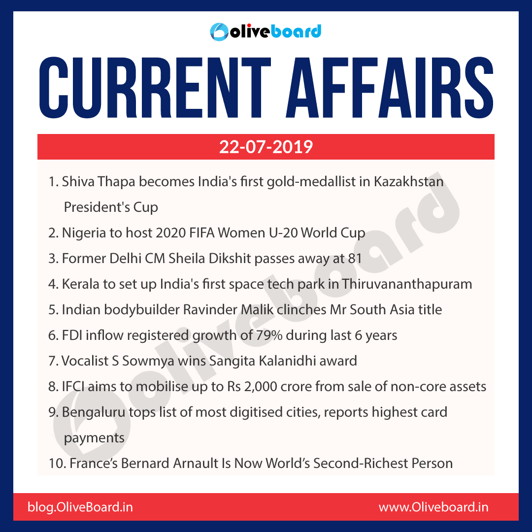 Current Affairs 22 July 2019