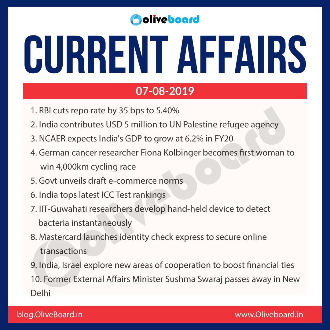 Current Affairs 07 Aug 2019