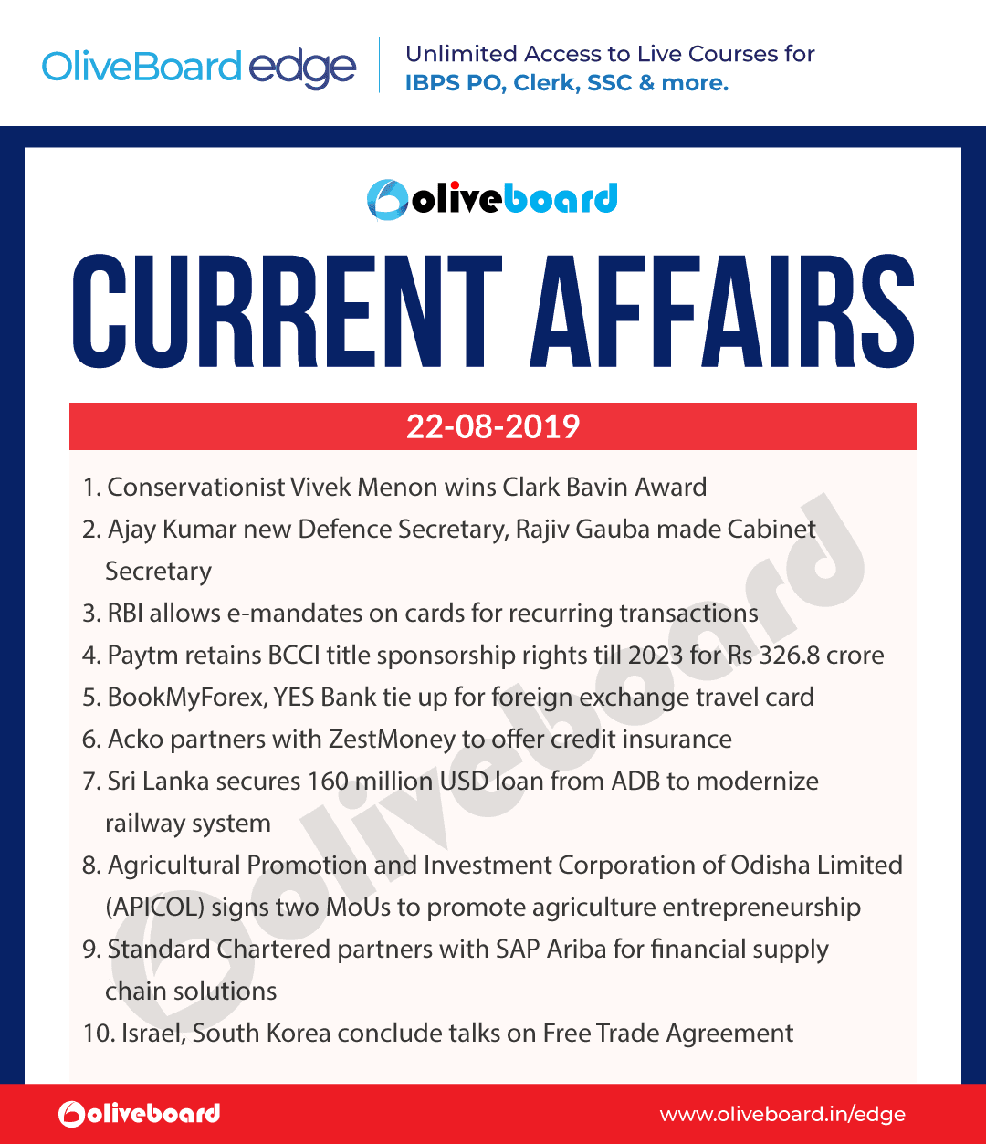 Current Affairs 22 Aug 2019