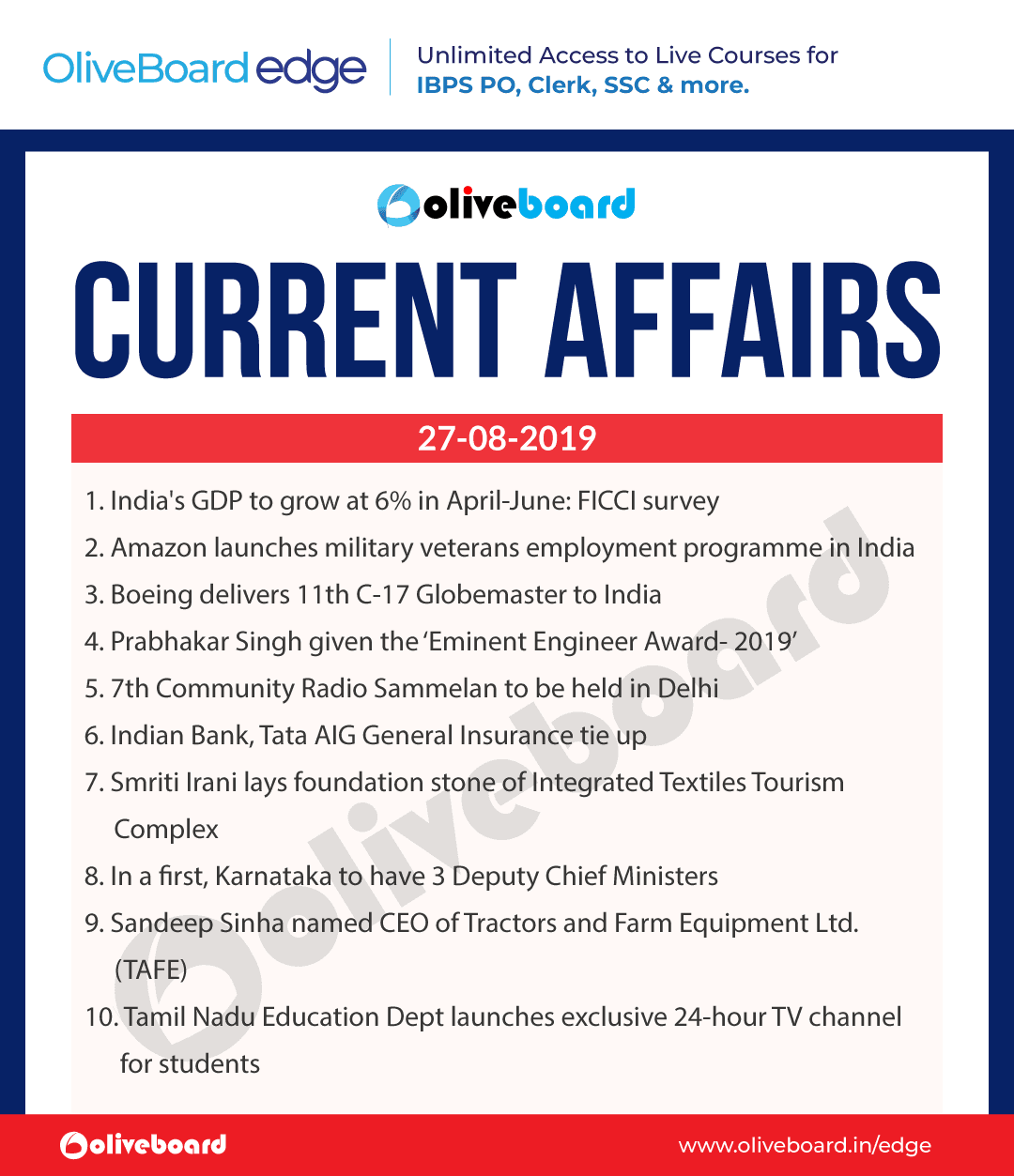 Current Affairs 27 Aug 2019