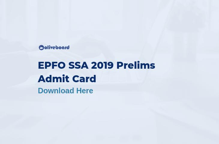 EPFO SSA Admit Card 2019