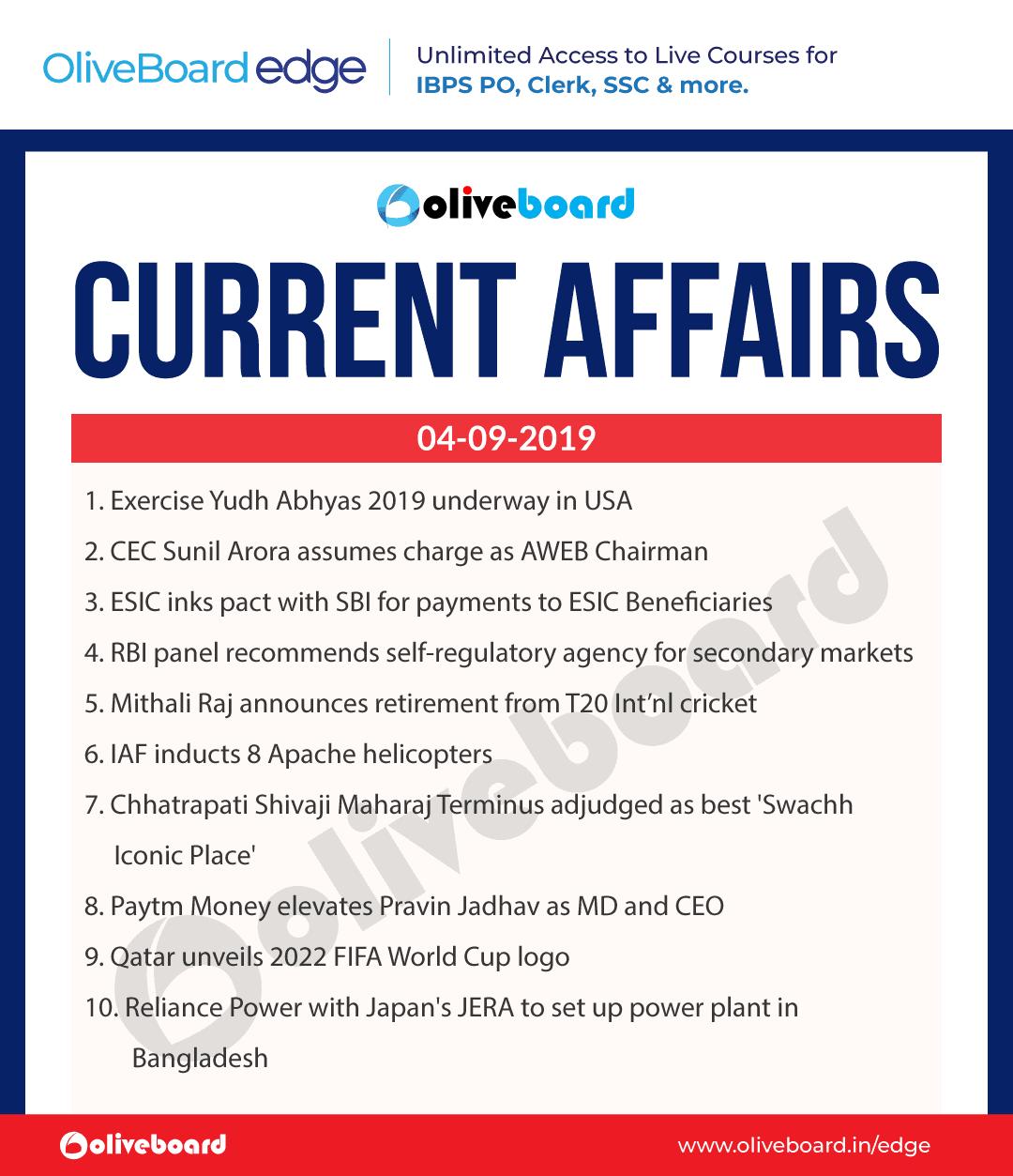 Current Affairs 04 Sep 2019