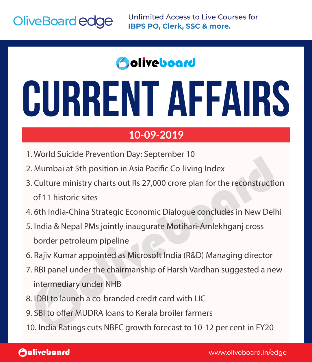 Current Affairs 10 Sep 2019