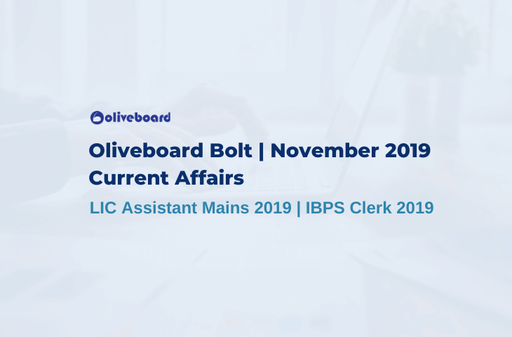 Oliveboard Bolt November 2019 Current Affairs