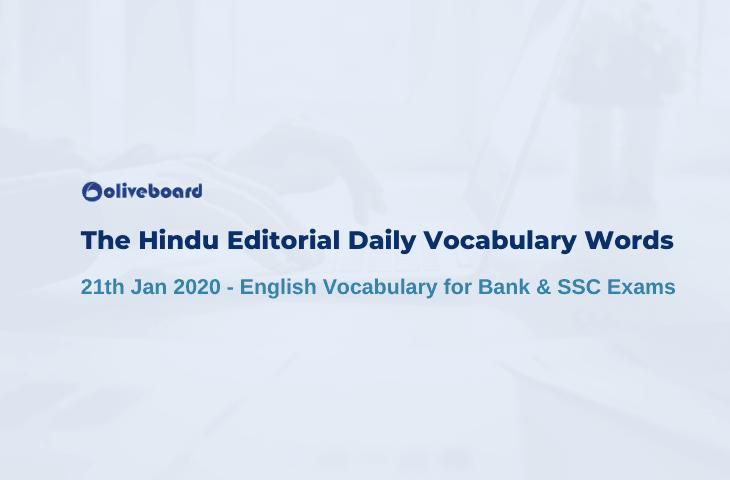 Daily Vocabulary Words 21 January 2020