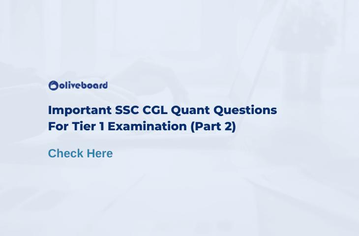 SSC CGL Quant Questions